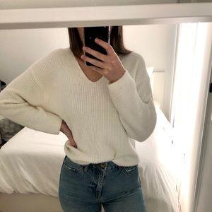 H&M fuzzy white sweater